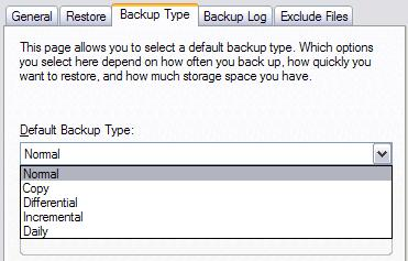 Windows XP's Backup program, Backup Type options