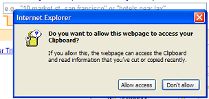 IE7 dialog box asking 'Do you want to allow this webpage to access your clipboard?'