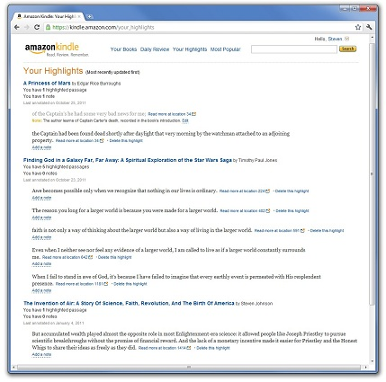 screenshot of Amazon Kindle Your Hilights page