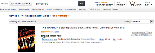 Amazon Instant Video search results