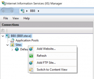 IIS Mnaager - Add FTP Site